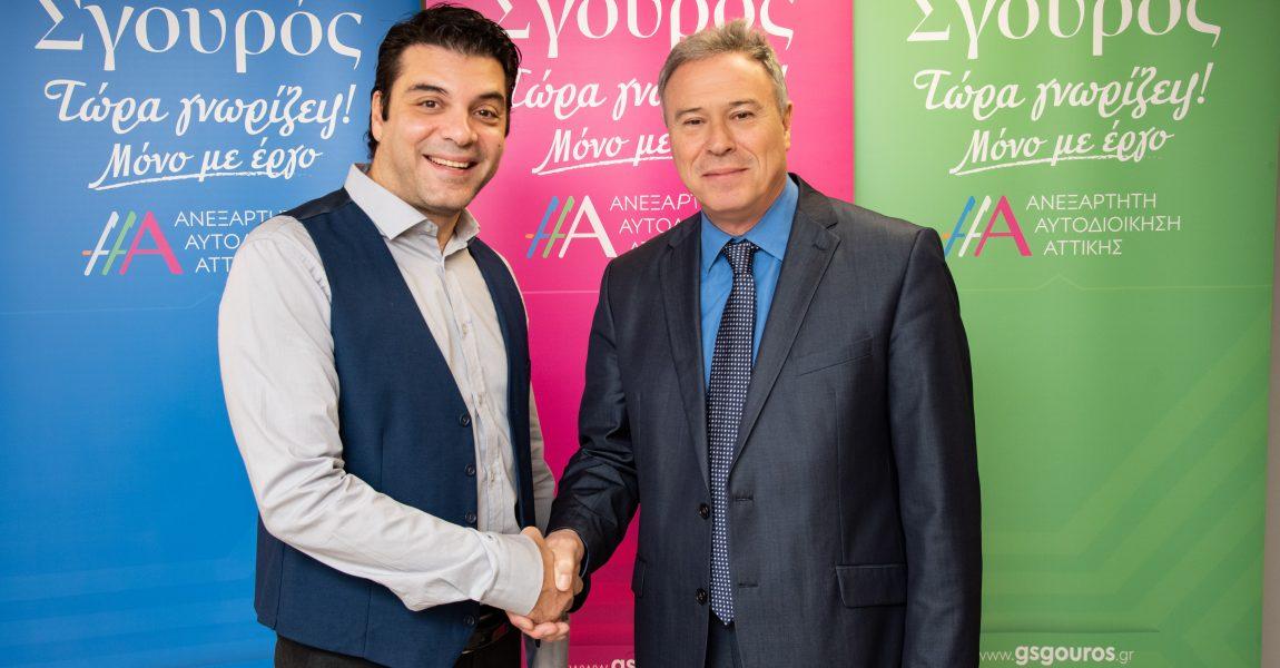 Ο ηθοποιός, σκηνοθέτης και θεατρικός συγγραφέας Ιάκωβος Μυλωνάς με τον Γ. Σγουρό