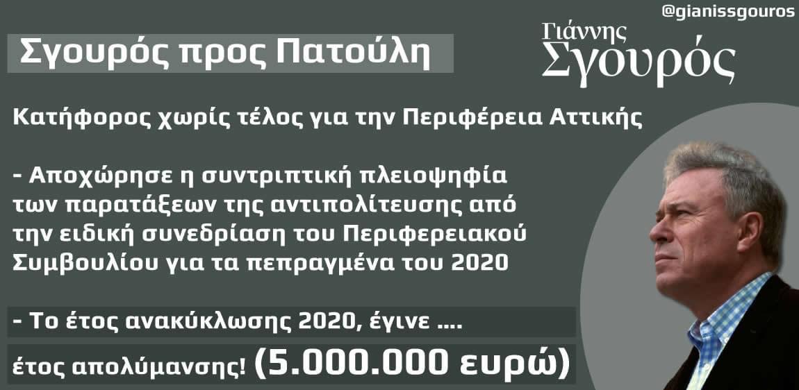 Σγουρός προς Πατούλη: Κατήφορος χωρίς τέλος για την Περιφέρεια Αττικής