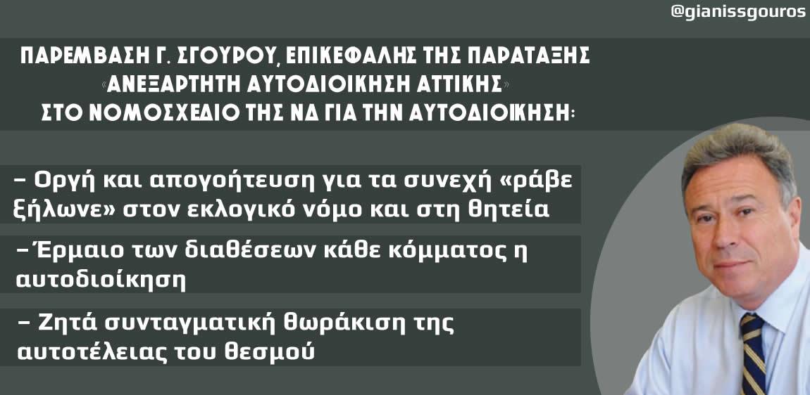 Παρέμβαση Γ. Σγουρού, επικεφαλής της παράταξης «ΑΝΕΞΑΡΤΗΤΗ ΑΥΤΟΔΙΟΙΚΗΣΗ ΑΤΤΙΚΗΣ» στο νομοσχέδιο της ΝΔ για την αυτοδιοίκηση:  – Οργή και απογοήτευση για τα συνεχή «ράβε ξήλωνε» στον εκλογικό νόμο και στη θητεία  – Έρμαιο των διαθέσεων κάθε κόμματος η αυτοδιοίκηση  – Ζητά συνταγματική θωράκιση της αυτοτέλειας του θεσμού